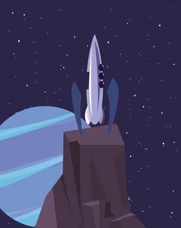 spaceship on rock surface vector illustration design