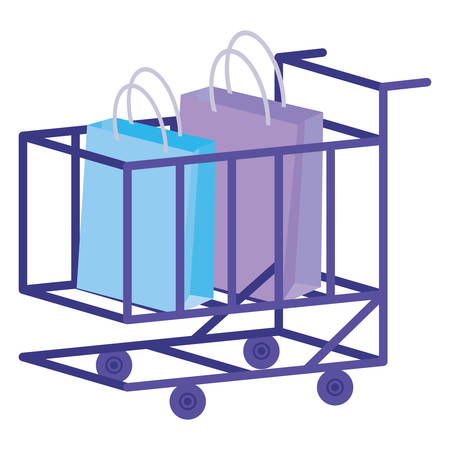 shopping cart with shopping bags vector illustration design