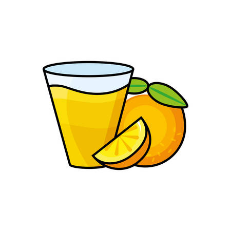 fresh orange citrus fruit in glass vector illustration design