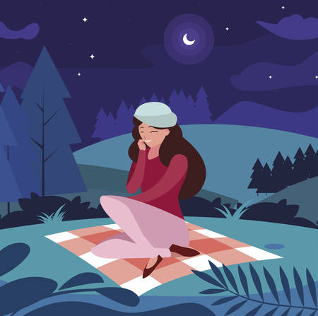 woman with beret seated in the park picnic day vector illustration design Illustration