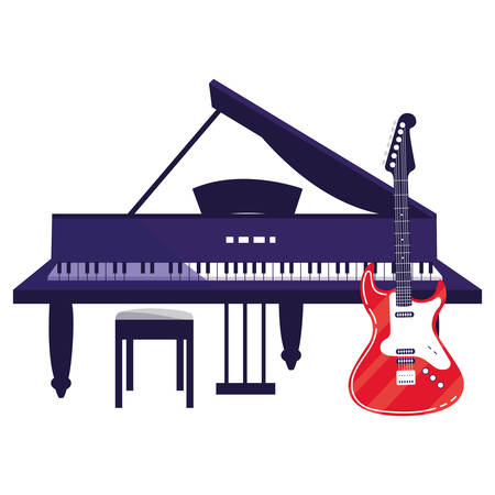 guitar electric and grand piano instruments musical vector illustration design Illustration