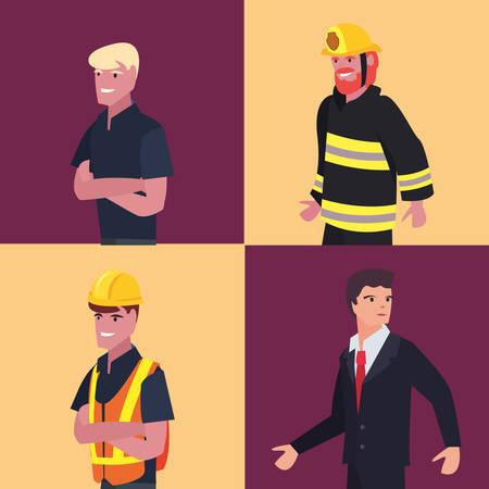 people profession labour day set vector illustration