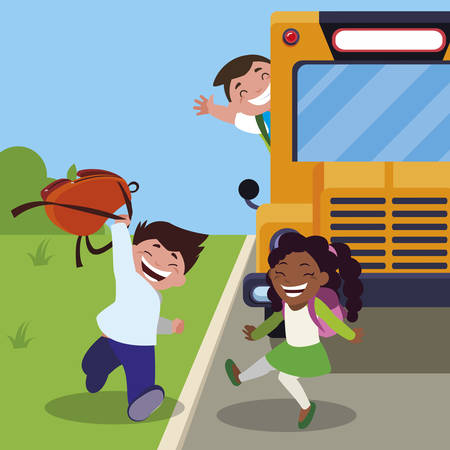happy little interracial school kids in the bus stop vector illustration design Illustration