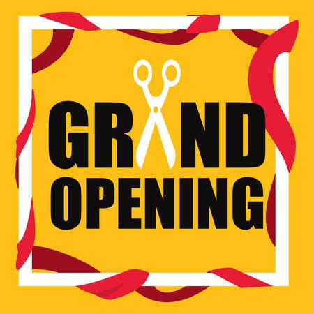 commercial grand opening scissors vector illustration design