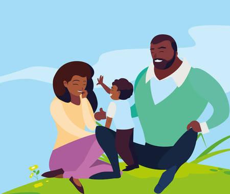 black parents couple with son in the landscape vector illustration design