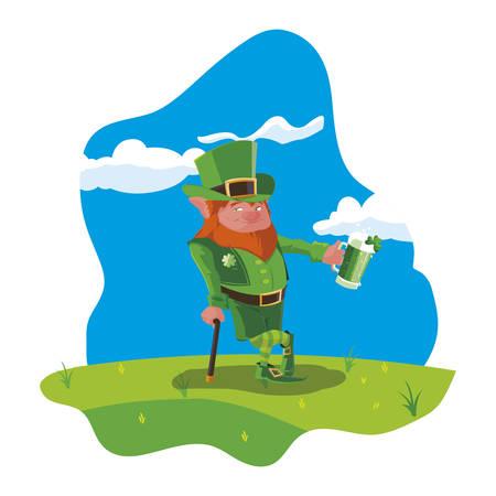 lemprechaun with beer in the field vector illustration design Banque d'images - 122881772