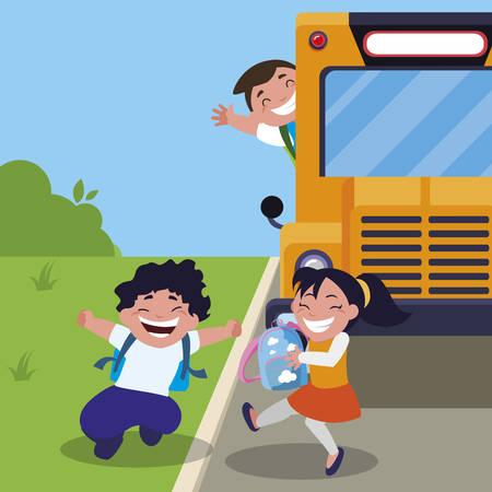 happy little school kids in the bus stop vector illustration design