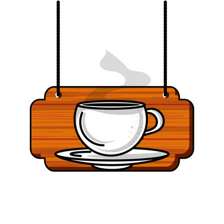 label wooden with coffee cup vector illustration design