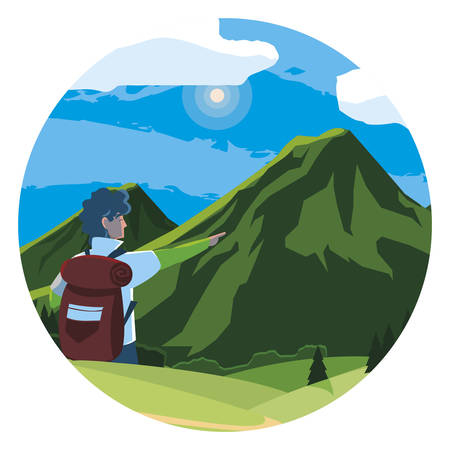 Hombre aventurero con bolsa de viaje en las montañas, diseño de ilustraciones vectoriales