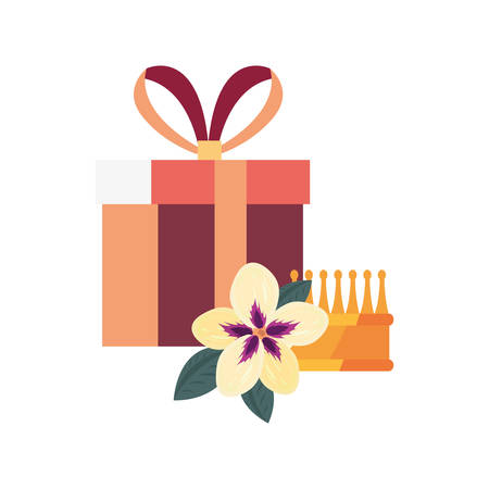 gift box crown surprise flower vector illustration