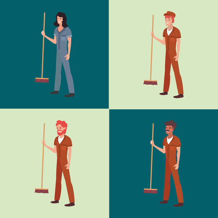 set of street sweeper man woman labour day vector illustration