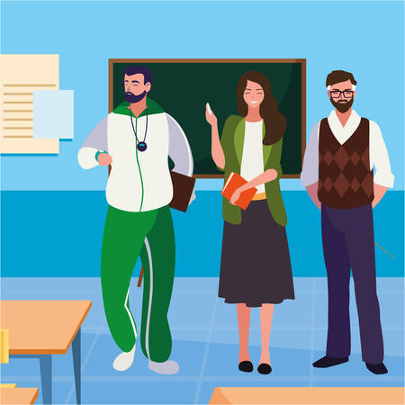 teachers classic and sports in the classroom vector illustration design