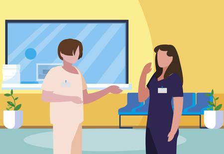 couple medicine workers in hospital reception vector illustration design Vectores