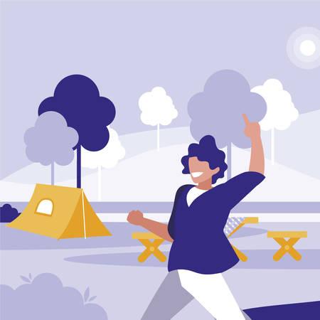 young dancer disco style in the park vector illustration design Ilustração