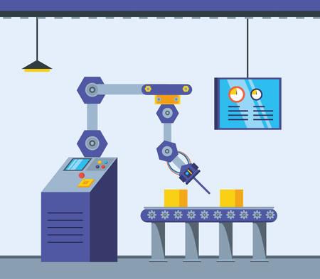 technified factory scene icon vector illustration design