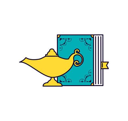 koran book with teapot ramadan kareem vector illustration design Illustration