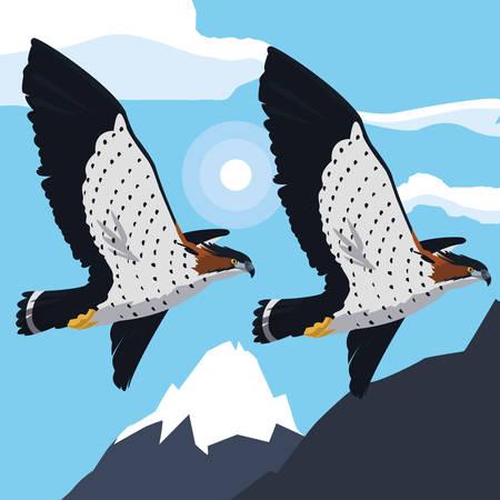 beautiful hawks flying majestic birds vector illustration design Ilustração