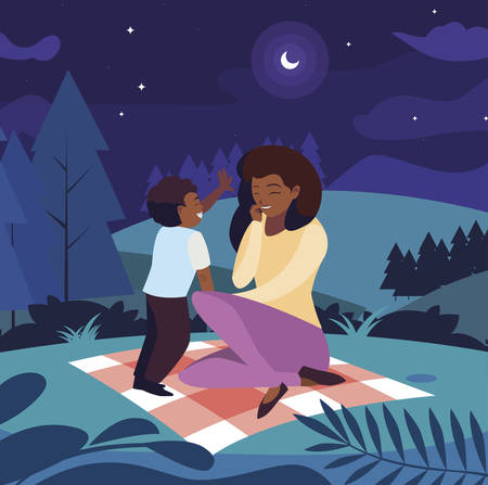 beautiful black mother with son in the field picnic day vector illustration design