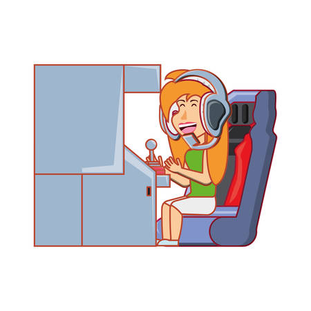 girl playing in retro console video game machine vector illustration design Ilustrace