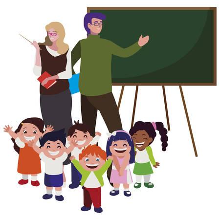 teachers couple with little students and chalkboard vector illustration design Illustration