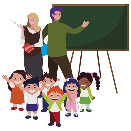 teachers couple with little students and chalkboard vector illustration design Vectores