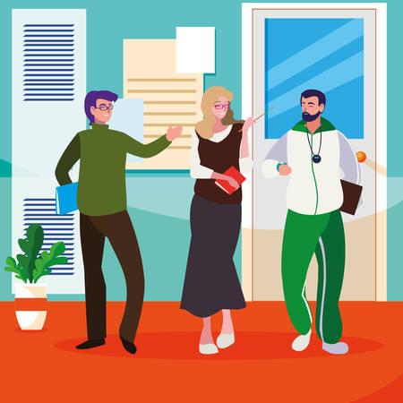 teachers classic and sports in the school corridor vector illustration design