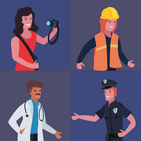 people profession labour day set vector illustration Illustration