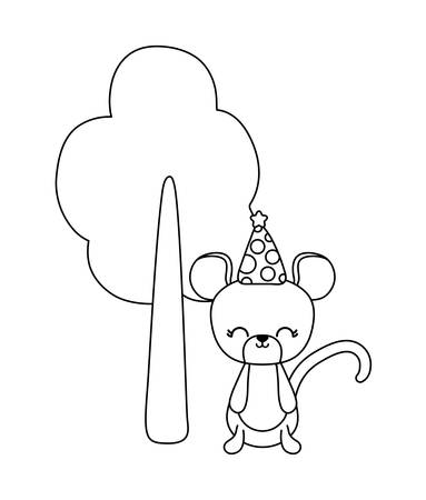 cute mouse with hat party and tree plant vector illustration design Ilustração