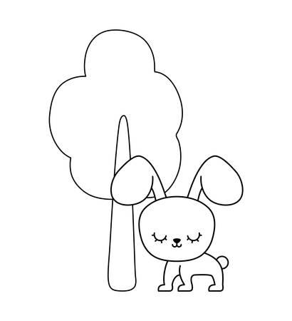 cute rabbit animal with tree plant vector illustration design Ilustração