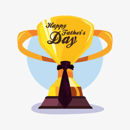 trophy with necktie happy fathers day vector illustration