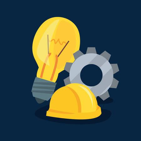 helmet and gear bulb tool wall brick vector illustration design  イラスト・ベクター素材