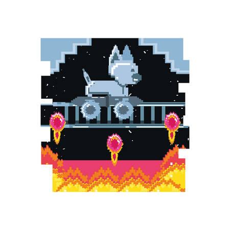 video game pixelated robotic dog with skateboard vector illustration design Illustration
