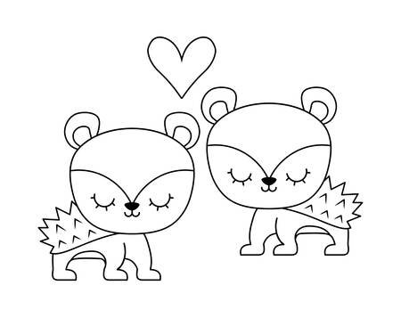 couple of cute porcupine animal isolated icon vector illustration design