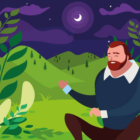 strong and bearded man seated in the field at night vector illustration design