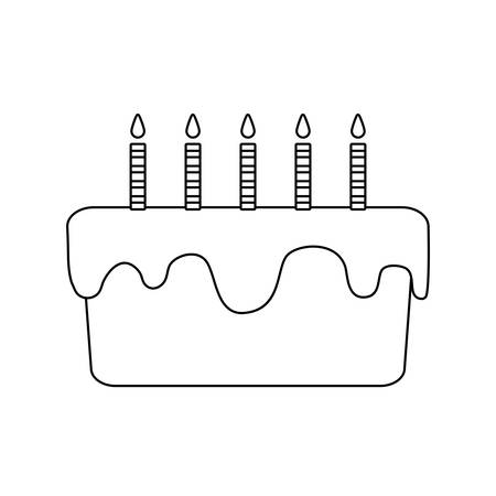 sweet cake of birthday isolated icon vector illustration design