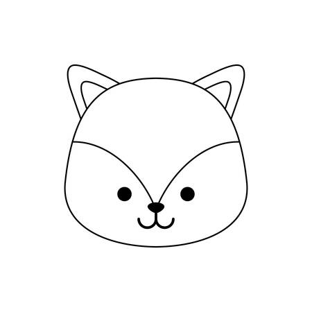 head of cute fox animal isolated icon vector illustration design