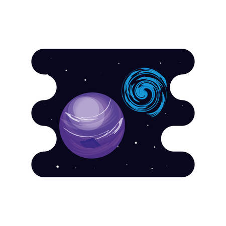 uranus planet with black hole scene space vector illustration design Ilustração
