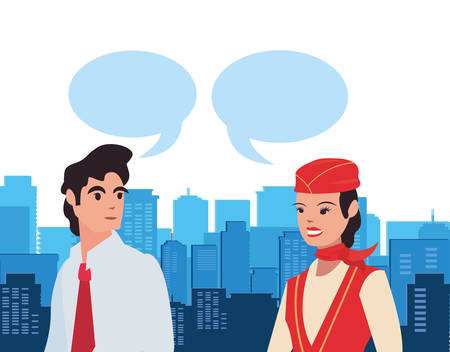 flight attendant and businessman talking labour day vector illustration