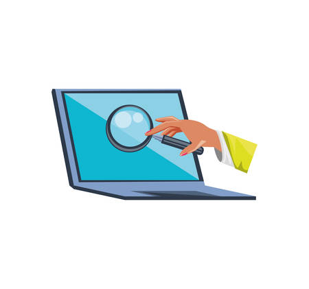 laptop computer with hand and magnifying glass vector illustration design
