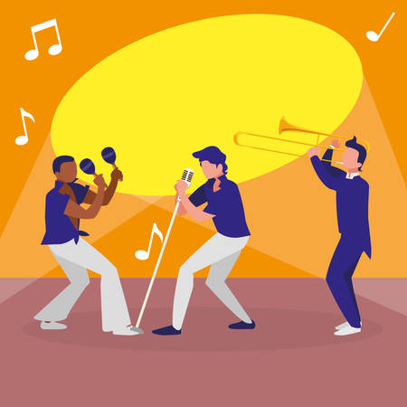 singer and musicians band characters vector illustration design