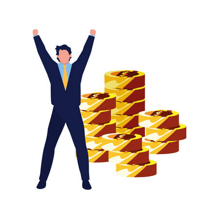 successful businessman coins stacked money vector illustration