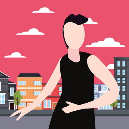 hipster man in the city activity vector illustration Иллюстрация