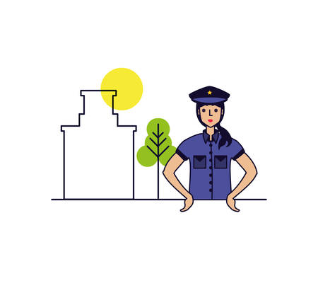 police officer female with cityscape vector illustration design
