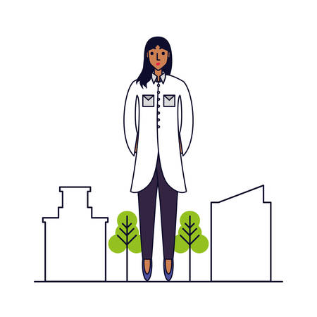 doctor female professional with cityscape vector illustration design Illustration