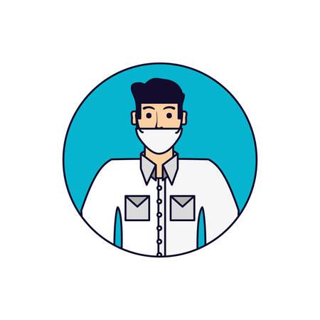 doctor professional in frame circular vector illustration design
