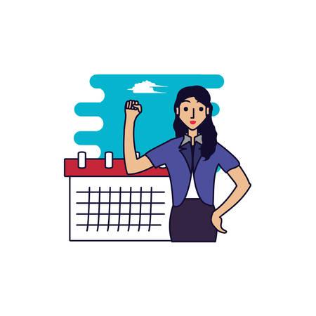 business woman elegant with calendar reminder vector illustration design