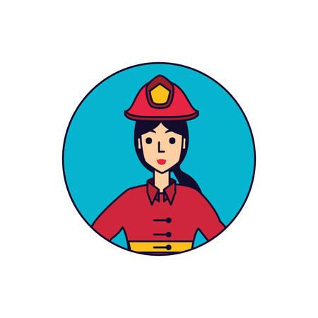 firefighter professional female in frame circular vector illustration design