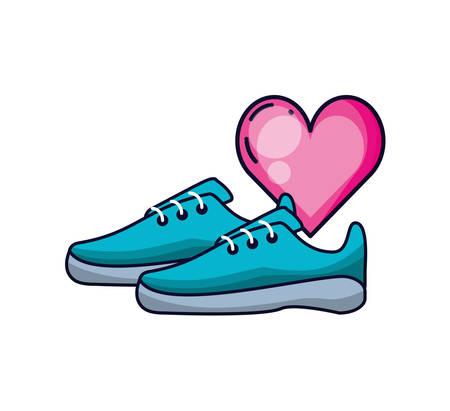 shoe runner tennis with heart vector illustration design Ilustração