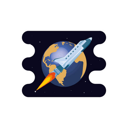 earth planet with spaceship scene space vector illustration design