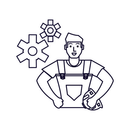 worker construction man with gears vector illustration design